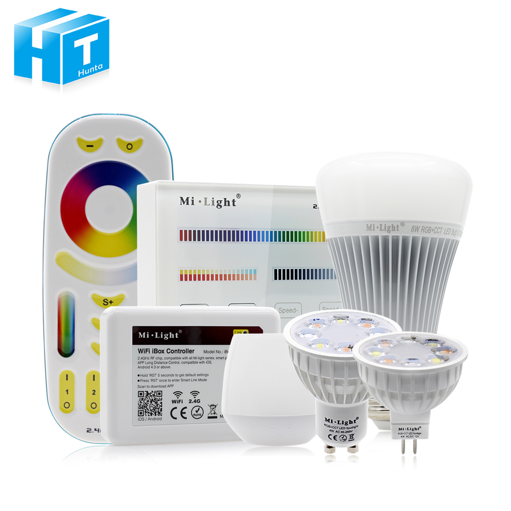 Mi.light Full Color LED Bulb LED Spotlight GU10 MR16 4W E27 8W RGB+CW+WW Remote Controller iBox 1 / 2 Smart Indoor Lighting smart bulb e27 7w led bulb energy saving lamp color changeable smart bulb led lighting for iphone android home bedroom lighitng