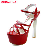 2016 Summer New Arrival Fashion Buckle Party Shoes Woman Thin Heels Solid White Red Silver Green