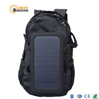 BOGUANG solar black backpack 6.5W 5V solar panel built-in USB charger for outdoor travel camping climbing charging mobile phone