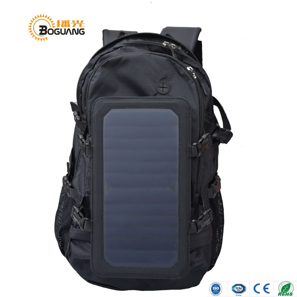 BOGUANG solar black backpack 6.5W 5V solar panel built-in USB charger for outdoor travel camping climbing charging mobile phone portable outdoor solar charger mobile phone mobile power supply folding expedition 5v charging board