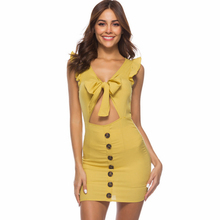 New Women Dress Summer Sexy Woman Sheath Ruffles V-neck Mini Solid Color Party Dresses Luxury Shine Hot Sale Promotion