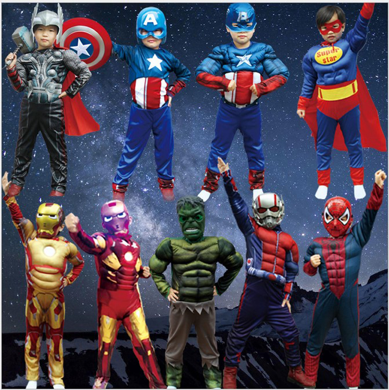 Children avengers party muscle cosplay kids captain America Iron man ant man Thor Hulk batman spiderman costume boy jumpsuit
