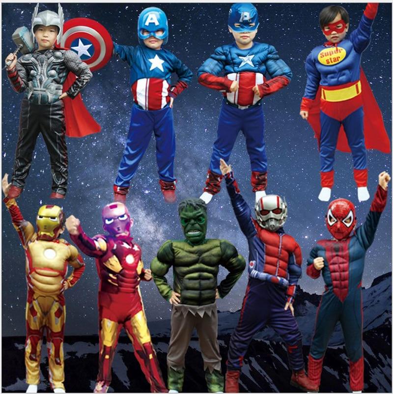 Children avengers party muscle cosplay kids captain America Iron man ant man Thor Hulk batman spiderman costume boy jumpsuit