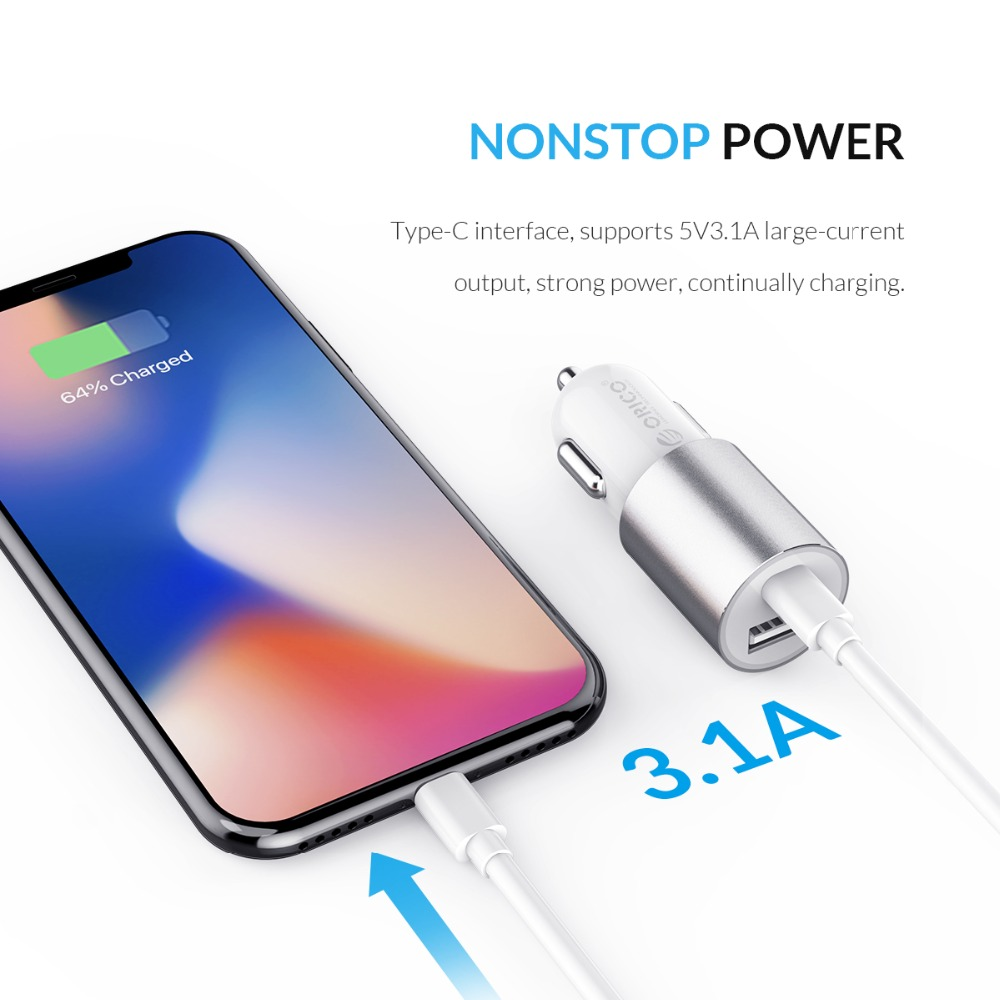 ORICO Dual Output Car Charging Type C Port + USB Charger Car Cigarette Lighter Charger Wide Voltage Mobile Phone Charger (4)