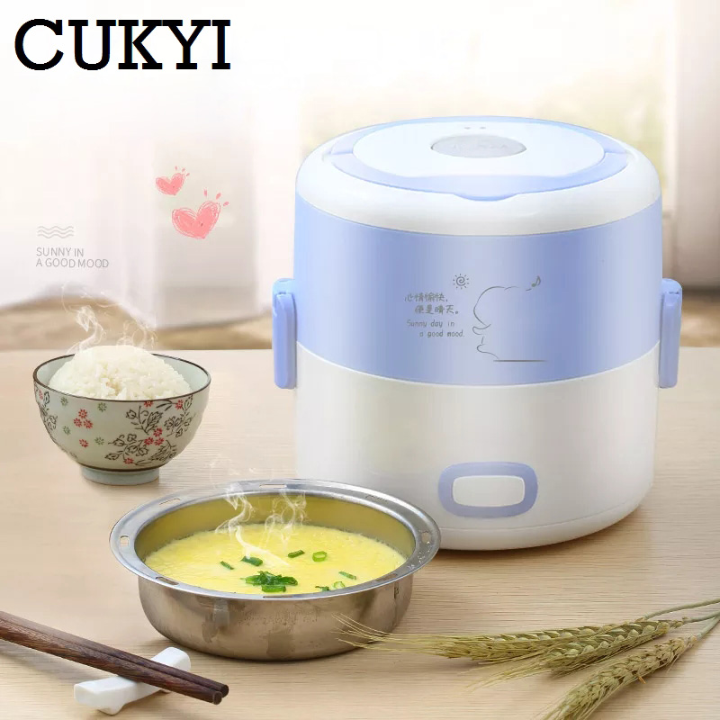 CUKYI Portable Electric Lunch Box Double Hot Meals Cooking Pluggable Electrical Heating Thermal Insulation Mini Lunch Box multi function electric lunch box stainless steel tank household pluggable electric heating insulation lunch box