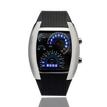 Новая Мода Прохладный СВЕТОДИОДНОЙ Вспышкой Цифровые Часы Инновационный Автомобиль Метр Воздуха Гонки Спортивные часы дети Светодиодные Электронные Бинарные Часы