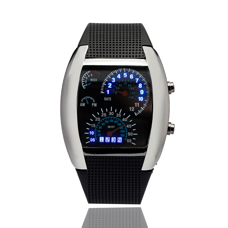 New Fashion Cool Flash LED Digital Watch Innovative Car Meter Air Race Sports Dial watch children Led Electronic Binary Watches