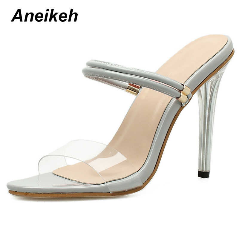 Detail Feedback Questions about Aneikeh 2018 PVC Women Two Straps High Heels  Patent Leather Strappy Sandals Ladies Cute Shoes Sexy Mules Stiletto Dress  ... d006df9a2978