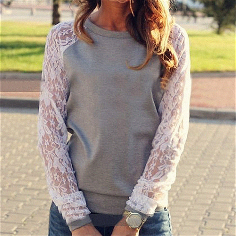 Spring Women Casual Hoodies Sweatshirts Fashion Lace Patchwork Long Sleeve Sweatshirt O Neck Pullover Tops Sudaderas Mujer