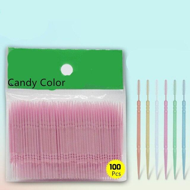 100 unids caja de cabeza doble hilo Dental Interdental palillo de dientes  cepillo los dientes b4d563a92ea6