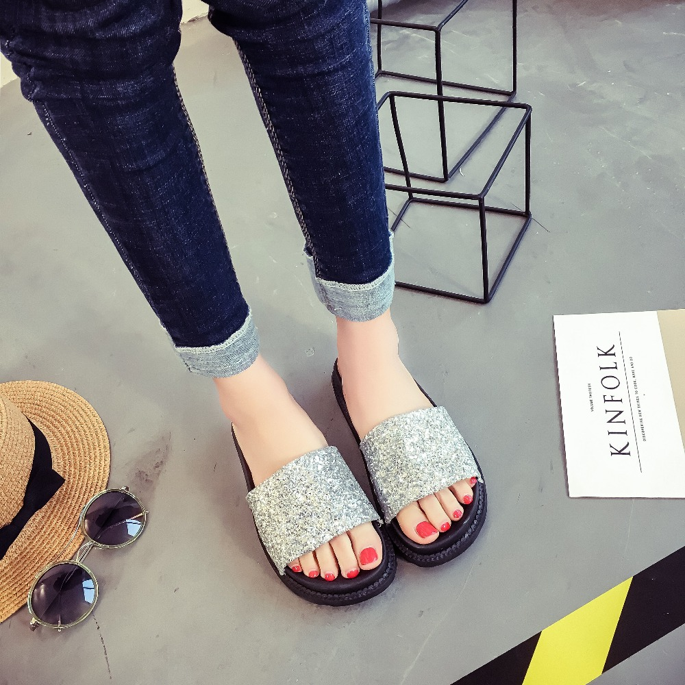 Summer Beach Slippers Womens Sandals Flash Sequins Women Shoes Fashion Sandals 2019 New Sandalias De Verano Para Mujer  Summer Beach Slippers Womens Sandals Flash Sequins Women Shoes Fashion Sandals 2019 New Sandalias De Verano Para Mujer