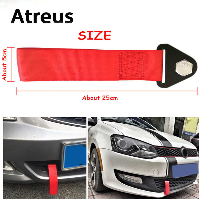 Universal Car Modified Trailer with Nylon Trim High Strength Short Tow Strap Trailer Rope Front and Rear Bar Towing Belt Car Accessories Blue 1 Pc
