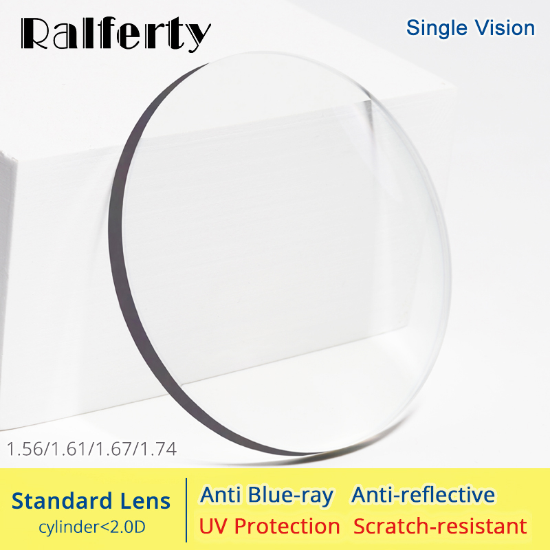 5d5187128 Ralferty 1.56 1.61 1.67 1.74 Lente de Óculos de Prescrição de Lentes  Ópticas Anti Luz Azul Olhos Claros de Dioptria de Miopia Fina HMC Lentes