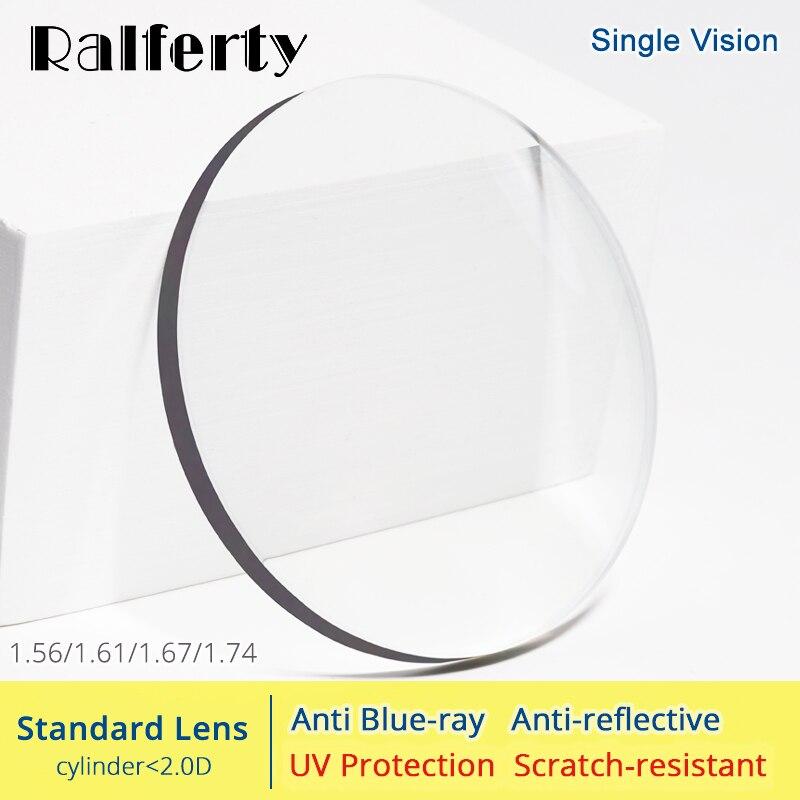 Ralferty 1.56 1.61 1.67 1.74 Lente de Óculos de Prescrição de Lentes Ópticas Anti Luz Azul Olhos Claros de Dioptria de Miopia Fina HMC Lentes
