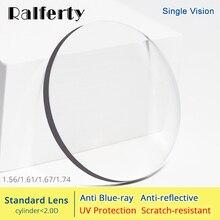 Ralferty 1.56 1.61 1.67 1.74 lentilles optiques Anti lumière bleue Prescription lunettes lentille yeux clair myopie dioptrie mince HMC Lentes