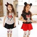 New 2016 Summer Style Kids Girls Clothes Sets Baby Girl Cartoon Minnie Polka Dot T Shirt+Leggings Culottes sets