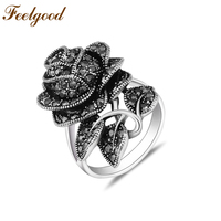 Big Retro Rose Flower Ring Vintage Jewelry Antique Silver Plated Black Crystal Fashion Rings For Women
