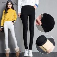 Autumn Winter Warm Leggings Women 2017 Fashion Velvet Thick Elastic Legging Black White High Waist Pencil Pants 3XL Plus Szie