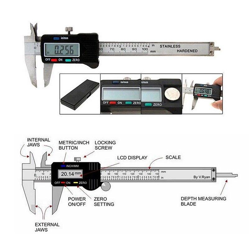Цифровой штангенциркуль 150 мм/6 дюймов с коробка из нержавеющей стали Электронный штангенциркуль ЖК Paquimetro микрометр