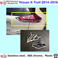 For N1ssan X-trail xtrail 2014 2015 2016 car body Rear tail back Light lamp frame stick chrome ABS cover trim switch 4pcs