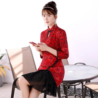 2019 Spring New aodai vietnam Cheongsam Models Modified red Qipao stand collar retro pleated traditional chinese Dress ao dai