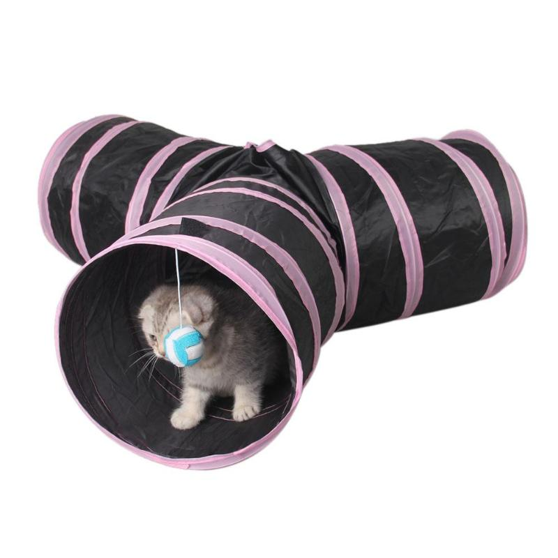 Foldable Pet Cat Tunnel Toy Y Shape 3 Holes Indoor Outdoor Puppy Kitten Rabbit Cat Tunnel House Training Toys with Ball ...