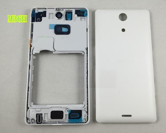 Original completo marco frontal chasis de la puerta trasera trasera tapa de la batería para Sony Xperia ZR M36h C5502 C5503 + Kits envío gratis