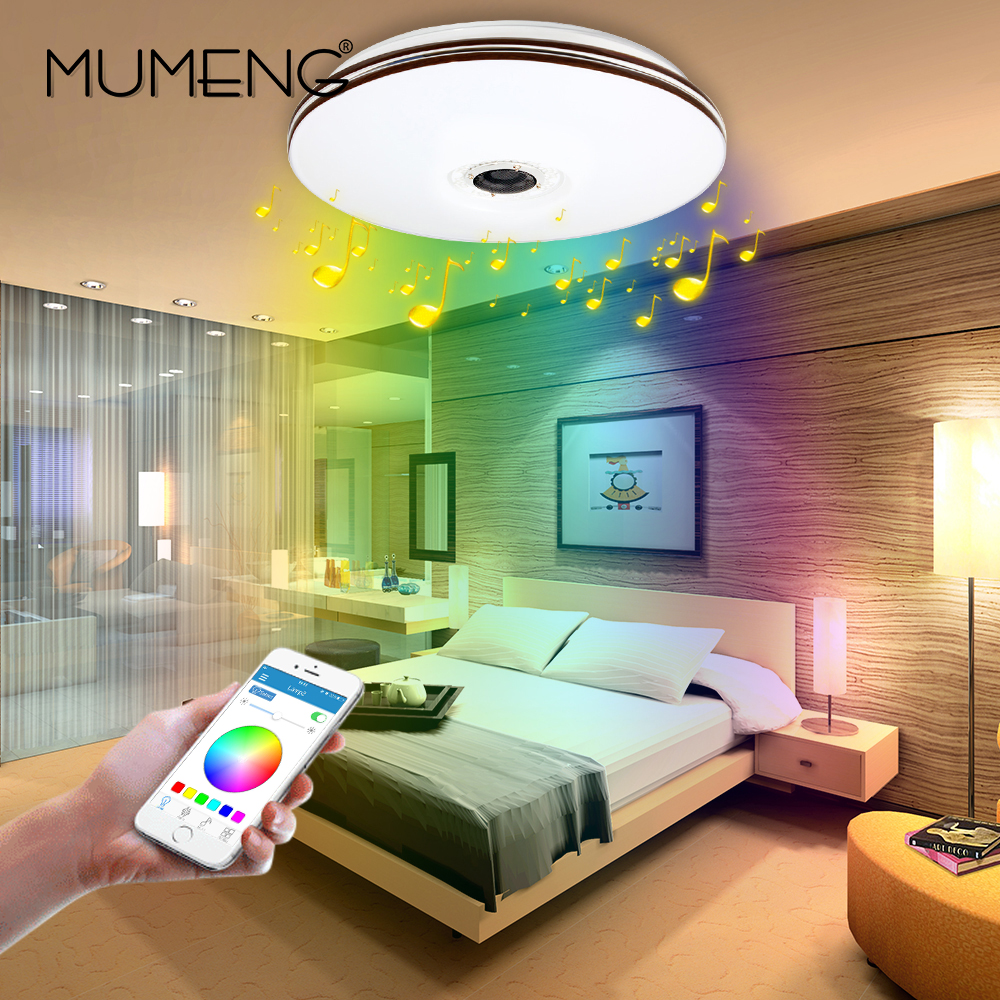 mumeng LED Ceiling Light Modern RGB Living Room Luminaria 32W Bluetooth Speaker Lustre Music Party Lamp Acrylic Bedroom Fixture old school motorcycle gauges