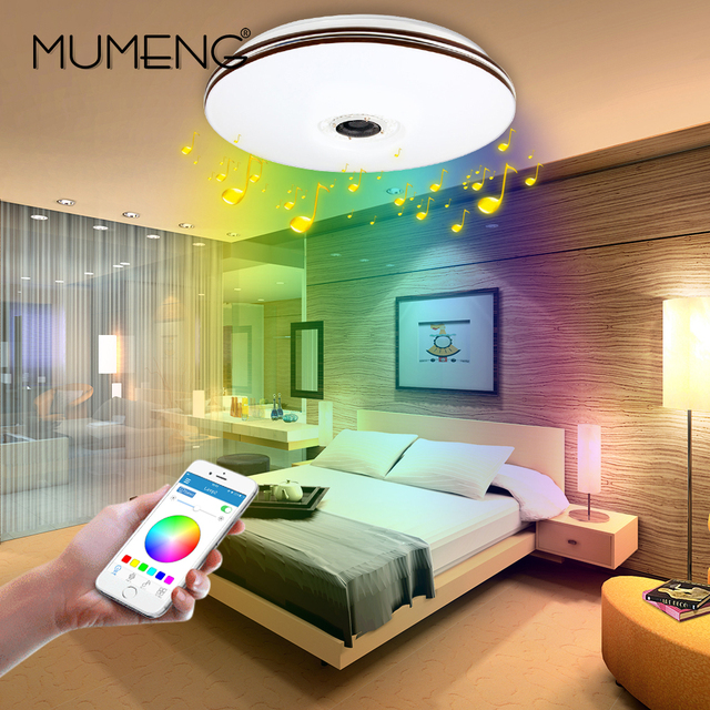Mumeng Led Deckenleuchte Moderne RGB Wohnzimmer Luminaria 32 Watt Bluetooth Lautsprecher Glanz Musik Party Lampe