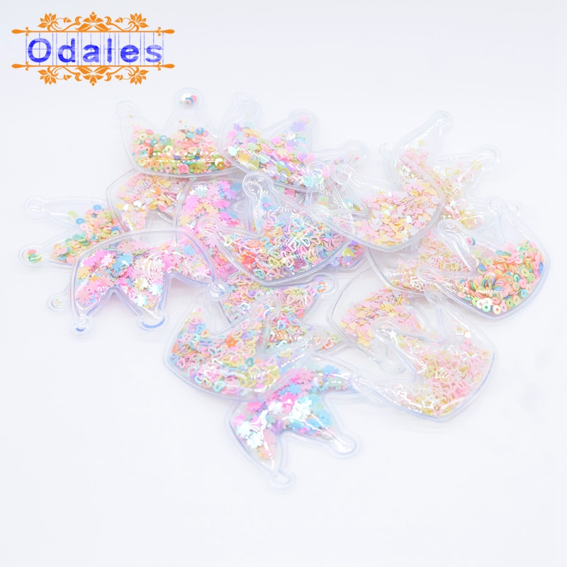 12Pcs Multi Style Sequin Crown Patches Dessert Cake Topper Supplies Headwear Accessories Baby Girls Crafts Hair Ornament