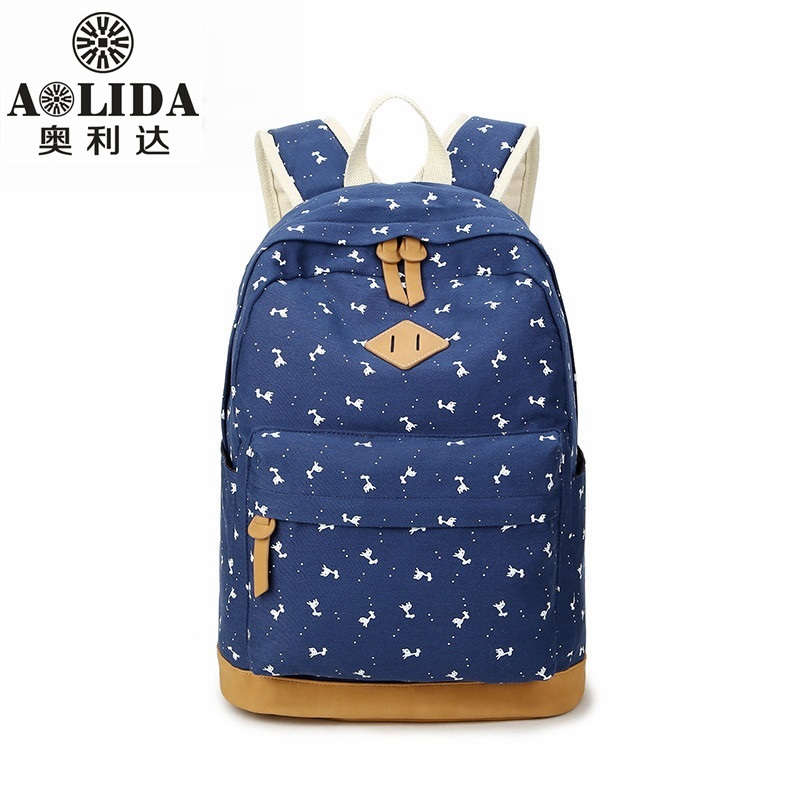 AOLIDA Canvas Laptop Backpacks For Adolescent Girls Student Bag For School Cute Printing Backpacks Notebook Free