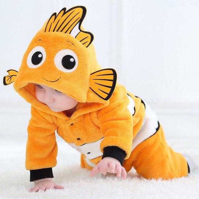 Baby Rompertjes Dieren Warm Winter Coral Fleece Leuke Vis Pyjama Kerst Pasgeboren Baby Jongen Meisje Pijamas De Bebe Recem Nascido