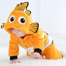 Bebek tulum hayvanlar sıcak kış mercan polar sevimli balık pijama noel yenidoğan bebek erkek kız pijama de bebe recem nascido