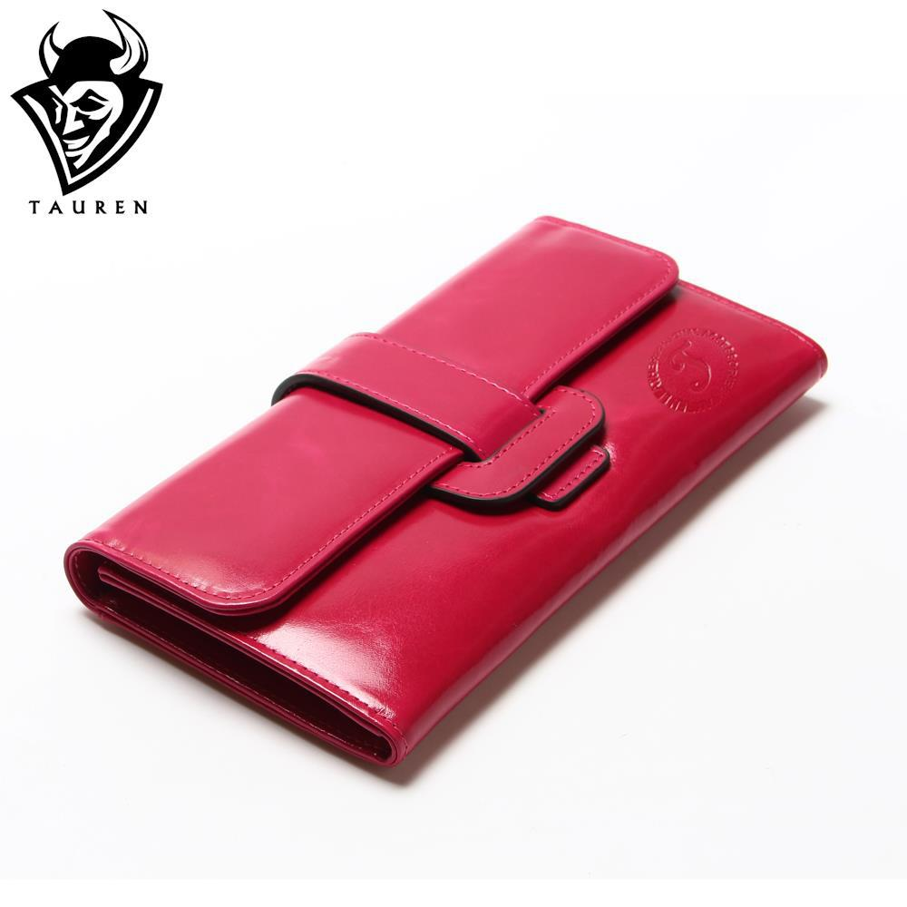 Women Oil Wax Leather Wallet Long Genuine Leaher Wallet Holder Good Quality Hasp Pocket Multi Color