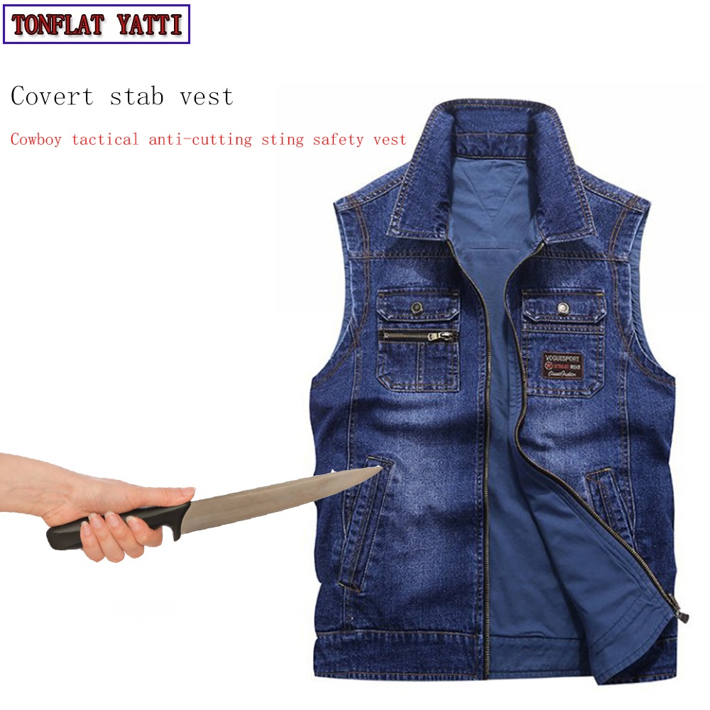 Self-defense Self-defense Tactics Covert Stab Vest Fashion Casual Safety Cowboy Vest  Police Bodyguard Protective Clothing