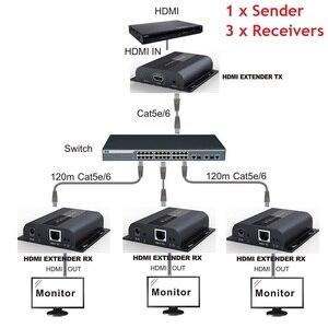 Image 3 - Hasta 120m con IR,LKV383 HDbitT HDMI 1080P extensor LAN repetidor sobre RJ45 Cat5e/Cat6, Envío Gratis