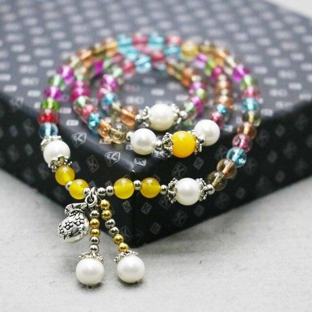 361b70a867 6mm estilo étnico colorido turmalina Calcedonia cristal pulsera cadena de  la mano para las mujeres niñas