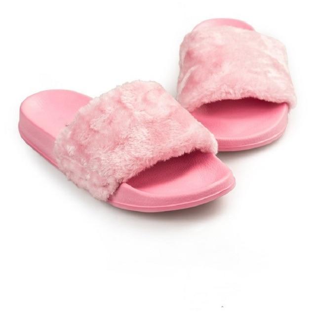 Design Women Slippers Female Fur Slides Comfortable Plush Winter Flat  Sandals Home Indoor Casual Shoes White 98f4c5c296ab
