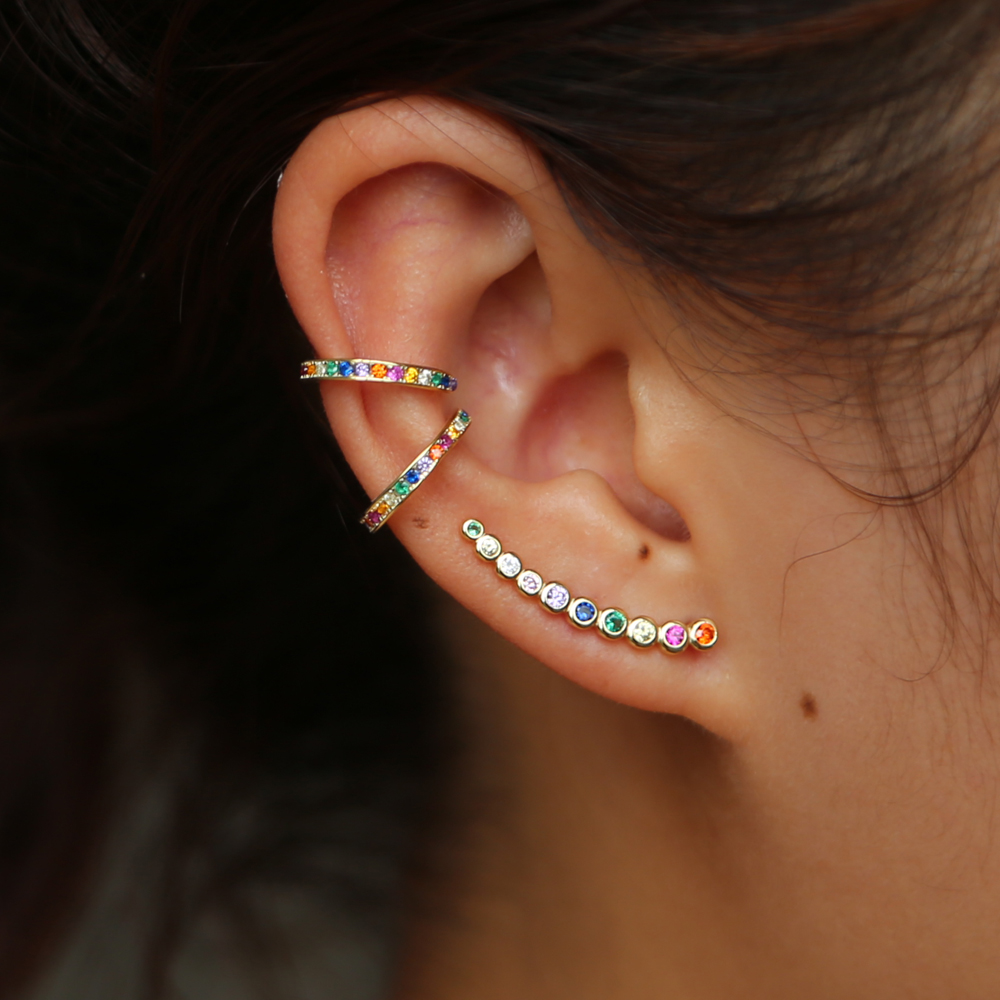 fine 925 sterling silver dainty earring minimal delicate design Gold color colorful rainbow cz women multi piercing earringsfine 925 sterling silver dainty earring minimal delicate design Gold color colorful rainbow cz women multi piercing earrings