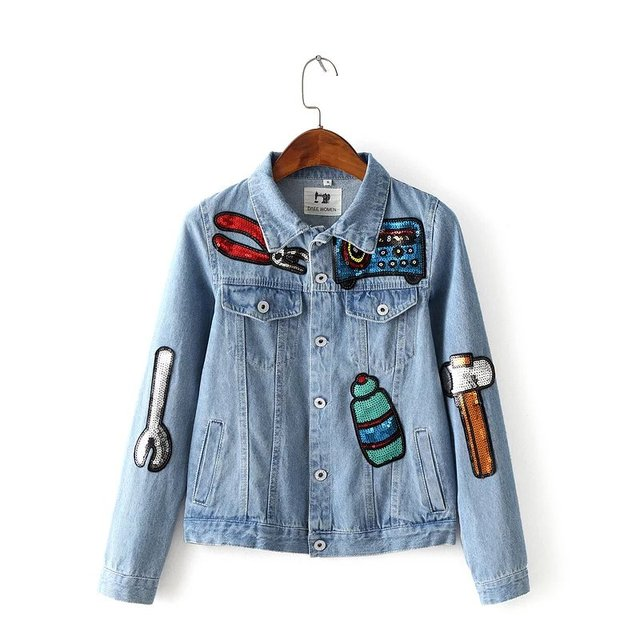 Free shipping spring autumn women's casual coats turn domn collar pocket denim jacket button solid color stitching with sequins