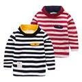 Ropa del niño de Los Bebés T-shirt Otoño Invierno Engrosamiento de Algodón Niños Camisetas Niños de la Raya Del Cuello Alto De Manga Larga de Tes Superior