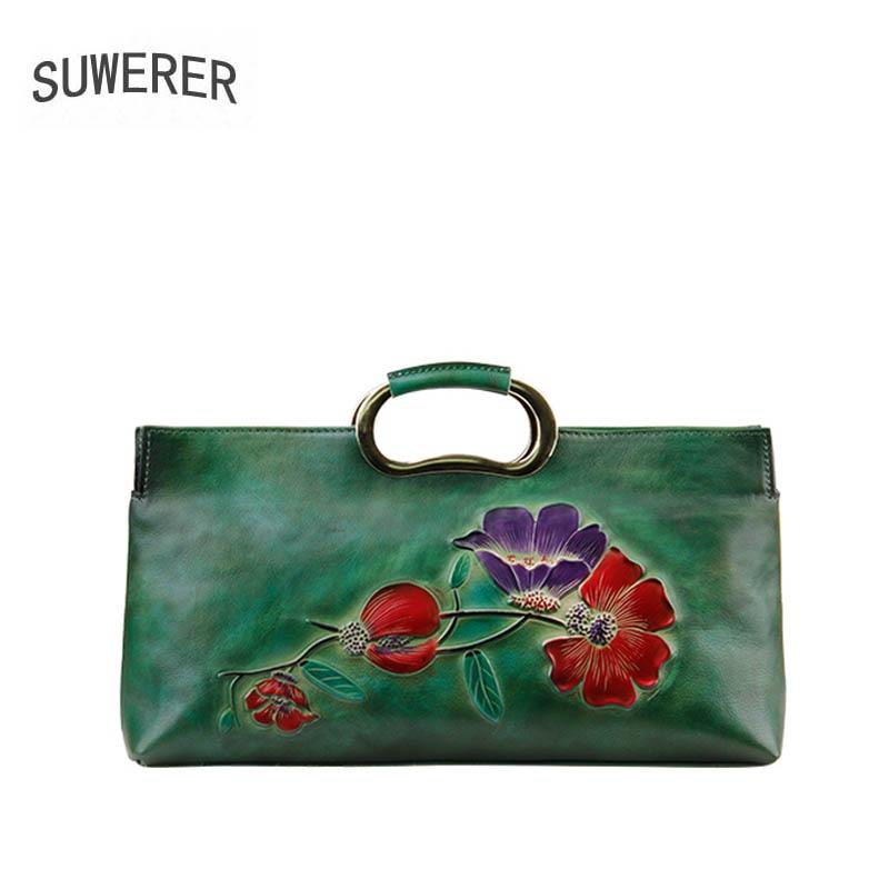 SUWERER 2018 New Genuine Leather women bag famous brand luxury fashion Embossing handbags women bag designer leather bags цены