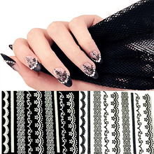 New Fashions 30 Sheets 3D Lace Nail Art Stickers Black White DIY Tips Decal Manicure Tools