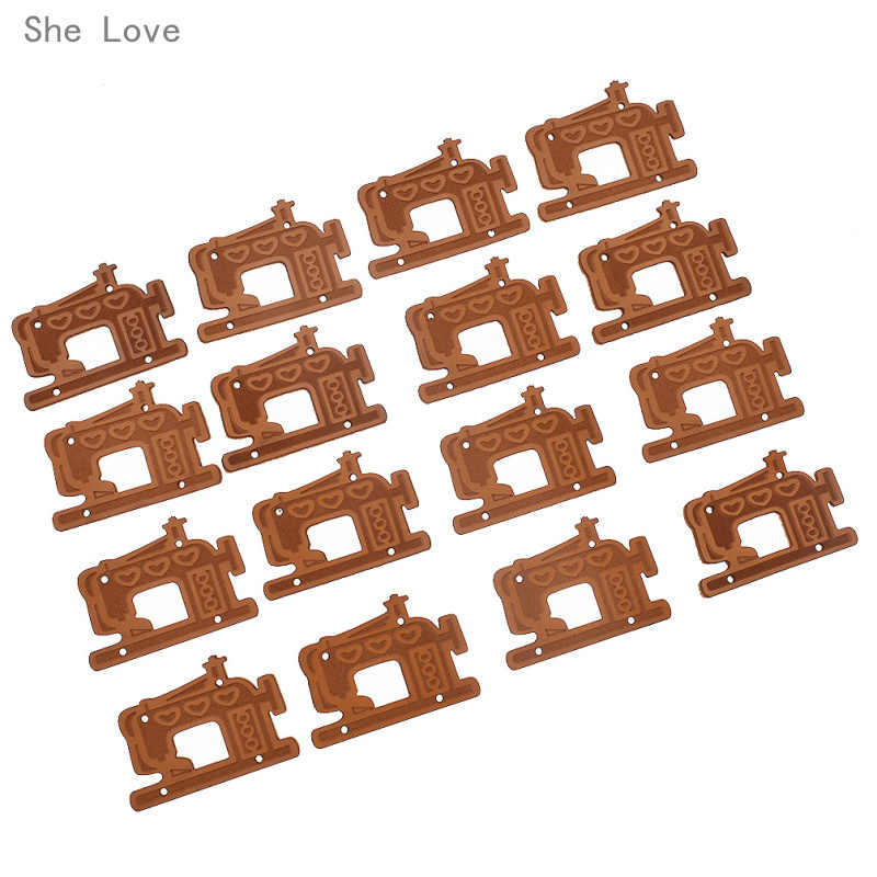 She Love 20PCs Sewing Machine Horse Hand Made Labels PU Leather Tags On Clothes Garment Labels Sewing Accessories