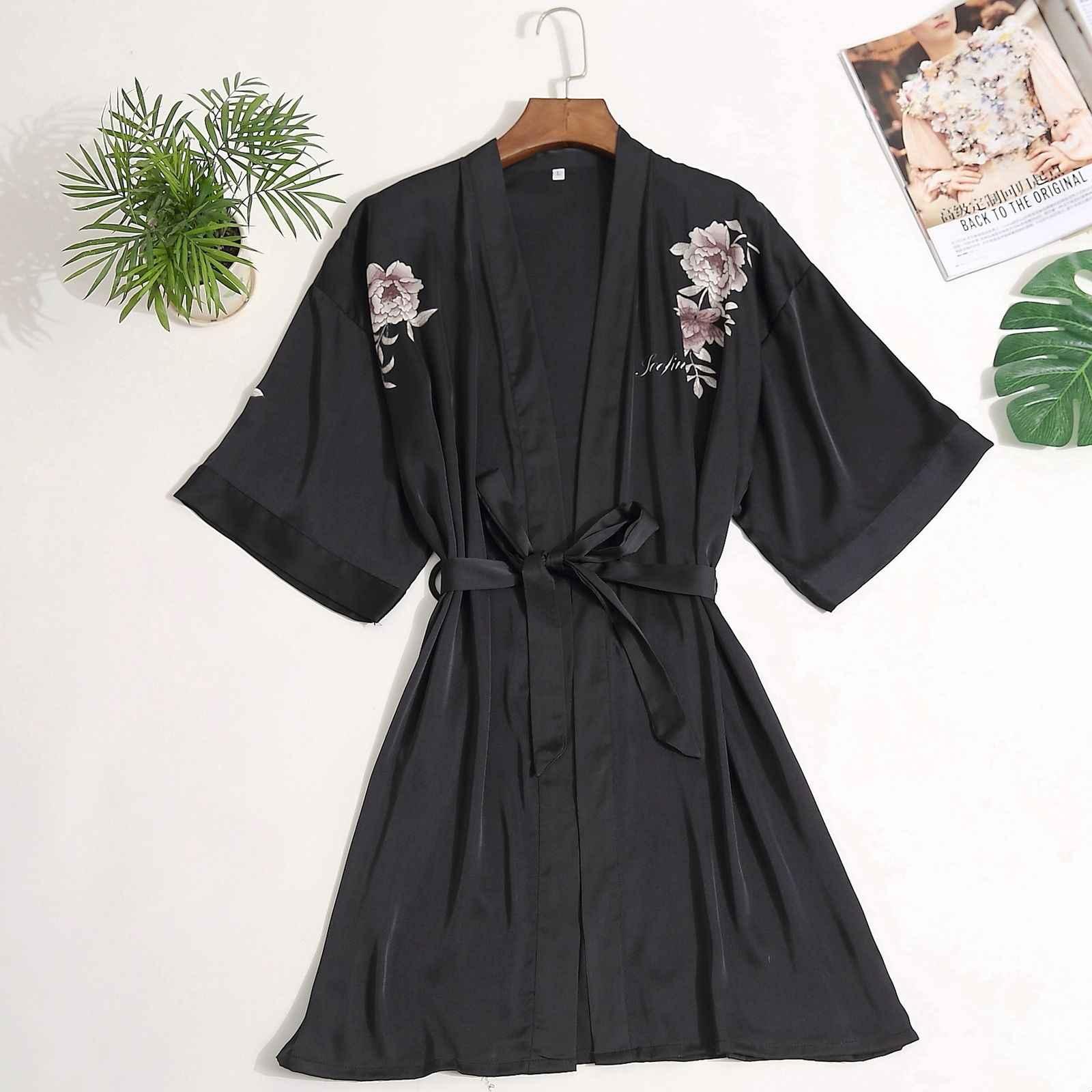 ... Brand New Floral Robe Kimono Women Dressing Gown Half Sleeve Loose  Ladies Sleepwear Robes ... 556ff31ce