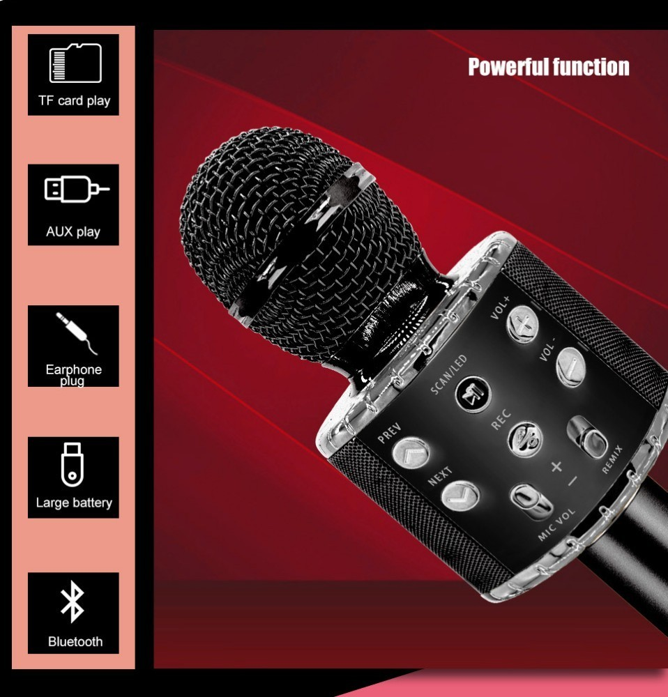 Ws858 Plus Wireless Karaoke Microphone Bluetooth Speaker Led Light Handheld Sing Recording Portable KTV For IOS Android Phone in Microphones from Consumer Electronics