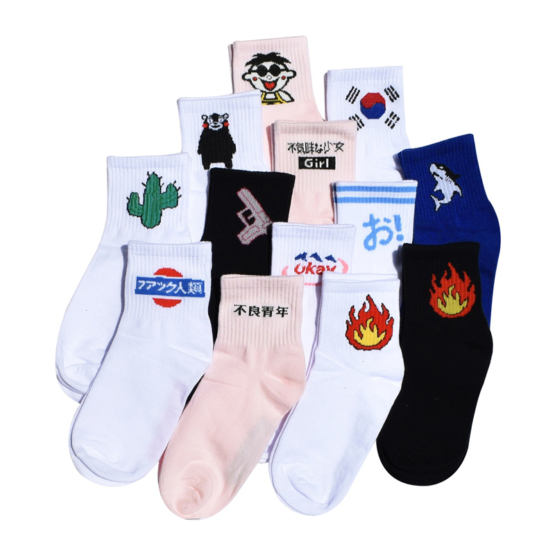 Women Daily Socks Harajuku Korea Japanese Cotton Kitten Flame Ulzzang Socks Men Chinese Cactus Gun  Alien Students Socks