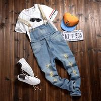 Fashion Bib Denim Jean Overalls For Men 2015 Summer Long Solid Blue Slim Cowboy Overall Cotton