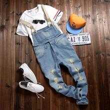 fashion bib denim jean overalls for men 2015 summer long solid blue slim cowboy overall cotton hole overalls men's jean MB432