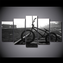 Poster 5 Pieces/Set Canvas Art picture Train Track Bicycle HD Print Oil Painting Wall Art Christmas Decorations for Home Framed(China)